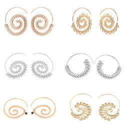 Wholesale Crystal Swirls - New Punk Swirl Hoop Earring For Women Silver Gold Geometric Spiral Earrings Party Jewelry Accessories Ethnic Jewelry ZY