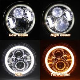 """Phares de jeep en Ligne-Pour Lada 4x4 urbain Niva 7 """"noir LED H4 phare lampes de jour phare pour Jeep Wrangler JK TJ LJ Land Rover Defender"""