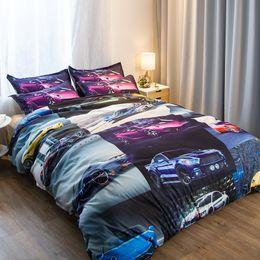 Ropa de cama queen online-Racing Cars Juegos de cama de poliéster de 3 piezas Funda nórdica Juego de sábanas de impresión Twin Queen King Size En stock