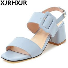 2019 tacchi alti di colore blu vendita all ingrosso nuovi sandali tacco  medio di spessore 8712094c140