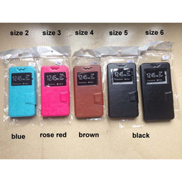Wholesale Cover Slides - Slide Ultra Thin Elephone G2 Case,Leather Flip Universal Phone Cases for 3.8-6.0 inches phone ZTE Oneplus Blu with TPU covers View Window