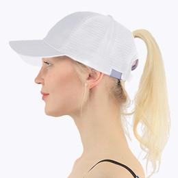 b3598fc68e302 ponytail hats Coupons - 2018 Ponytail Baseball Cap Women Adjust Sport  Casual Messy Bun Snapback Mesh