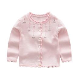 Дети розовые весенние пальто онлайн-Baby Girls Кардиган Пальто Дети Свитер Пуловер Весна Осень с длинными рукавами Knit School Girl Pink Red Grey Sweater