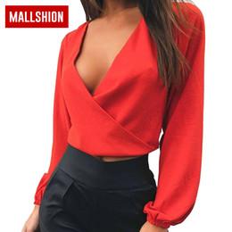166d77a5011 MALLSHION Chiffon Blouse Women Long Sleeve Elegant Sexy Deep V-Neck  Backless Bow Crop Tops 2018 Shirt Women Summer Tops elegant sexy white  blouse on sale