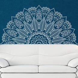 Autocollant inde en Ligne-Nouvelle Arrivée Namaste Mandala Yoga Lotus Méditation Inde Bouddha Dieu OM Symnol Art Sticker Mural Vinyle Interio Lit Chambre Décor À La Maison