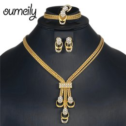 Set di gioielli africani OUMEILY 2018 Set di gioielli da sposa indiano nigeriano Set di gioielli in cristallo color oro argento da