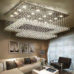 lustres de cristal au plafond moderne Promotion Lustres en cristal de la télécommande LED contemporains modernes avec des lumières de LED pour le montage rectangulaire d'appareil d'éclairage de plafond de bâti
