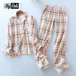 Large plus size Germany 100% brushed cotton Spring simple plaid womens  pajamas sets long-sleeved pijamas sleepwear for women 246ba8426
