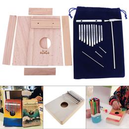 2019 mikrofone kinder großhandel 10 Key Kalimba DIY Kit Buche Holz Daumen Klavier Mbira Mini Musikinstrument für Handarbeit Malerei Eltern-Kind-Kampagne