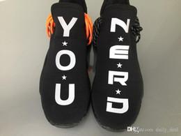 Wholesale r medium - Limited Trail Human Race HU Pharrell NERD Black White Running Shoes Sneakers Y O U N E R D Sports Shoes With Original box