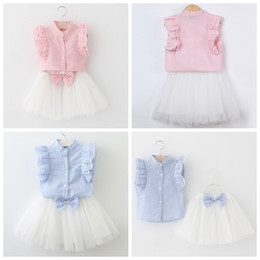 Wholesale Puffs Clothing - Baby girl boutique clothing suit Girls vertical striped puff sleeve shirt+white tutu skirts with bow 2pcs children outfits kids clothing set