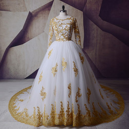 f0b2a7b016 ball gown wedding dresses glitter Promo Codes - 2019 Beads Modest White and  Gold Real Picture