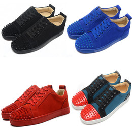 Wholesale Flat Bottom Rhinestones - Red bottom sneakers spikes mens & Womens red bottom shoes for cheap red bottom trainers sport shoes for unisex low top canvas sneakers