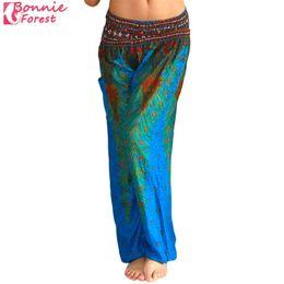 Wholesale Ethnic Pants - Bonnie Forest Ethnic style Wide leg pants Thailand Elastic Dancing Loose Fit Yoga Pants Blue Print High Waist Beach Trousers