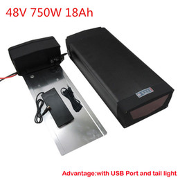 Wholesale Used Tail Lights - New arrival 48V 750W Lithium battery 48V 18AH For Electric Bike use samsung 3000mah cell with 5V USB port and Tail Light 20A BMS Charger