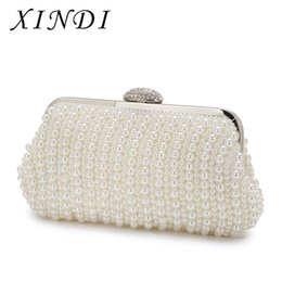Wholesale metal purse handbag frames - XINDI High Quality Dinner Party Handbags Pearl Beaded Evening Bag Metal Ladies White Clutches Purses With Chain Wedding Ceremony