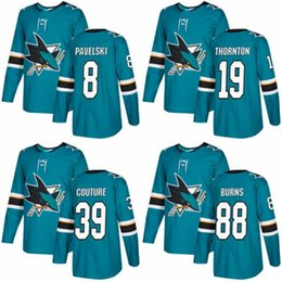 Wholesale 48 Sharks Jersey - 2018 NEW AD San Jose Sharks Hockey Jerseys 88 Brent Burns 8 Joe Pavelski 19 Joe Thornton 39 Logan Couture 48 Tomas Hertl Teal Jersey C Patch