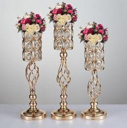 Wholesale golden flowers decorations - Metal Golden Candle Holders Hollow Wedding Table Candelabra Centerpiece Flower Rack Road Lead Home Decor
