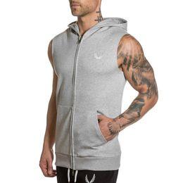 Hombres Culturismo sin mangas con capucha Summer Gyms Fitness Workout cremallera Sudadera algodón chaleco masculino Casual Brand Tank top Ropa desde fabricantes