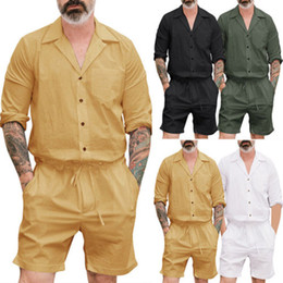 4ed5f735ce0f Discount male rompers - Men Casual Short Sleeve Stylish Jumpsuits Short  Trouser Pants Male Rompers Slim