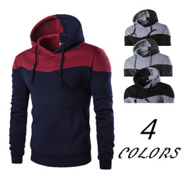 track ship Coupons - Mens Clothing Winter Hoodies Patch Colors Hooded Pullover Red Gray Gym Outfit Track suit Free Shipping