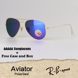 Wholesale Red Aviator - Top quality Polarize Aviator Sunglasses Men Women Brand Designer Driving glasses Goggle Metal Frame polaroid Lens with free cases and box