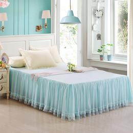 set completo di biancheria viola Sconti Pizzo Princess Pink Blue Purple Bed Skirt Twin Full Queen King Lenzuolo copriletto Coprimaterasso Federe 160X200cm