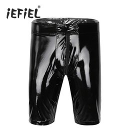 Wholesale Open Crotch Shorts - iEFiEL Black Mens Welook Patent Leather Zippered Open Crotch Boxer Shorts Half with Bulge Pouch Wetlook Dancing Clothes