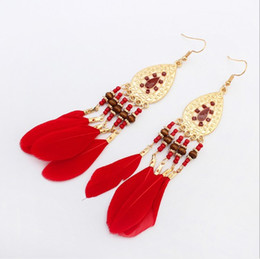 Wholesale Drop Coral Earring - Dangle Blue Red Feather Drop Earrings Beads Bridal Indian Ethnic Vintage for Girls Women Sale Jewelry Pierced Wholesale Earring Stud Fashion