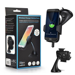 Wholesale qi wireless charging car - Qi Wireless Car Charger Mount Holder Charging Cradle for Samsung s6 s6 edge note5 nexus 4 5 6 for iphone5 6 7 8
