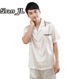 Wholesale Polka Dot Shirts For Men - Summer Short Sleepwear Sets for Men Thin Comfy Pajamas Pretty Nighties Artificial Silk Polka Dot Printed Knee-Length Pyjama