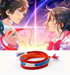 niedliche lippenstift-designs Rabatt Japanischer Anime Kimi no Na wa Dein Name Mitsuha Miyamizu Taki Tachibana Cosplay Seil Armband Handgefertigte Ornamente