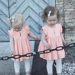 2019 casual kleider baumwolle rosa mädchen 2018 Sommer Baby Kleid Süße Rosa Kinder Baby Mädchen Rüschen Fliege Hülsen-beiläufiges Kleid Kinder Weiches Baumwollkleid Freies Verschiffen günstig casual kleider baumwolle rosa mädchen