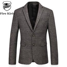 Wholesale Mens Wool Suits Vintage - Fire Kirin Slim Fit Mens Wool Blazer 2017 Autumn High Quality Elbow Patch Blazer Men Vintage Business Casual Suit Jacket Q193
