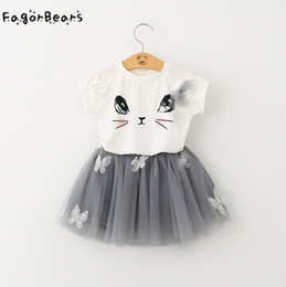 Wholesale Winter Clothings - FagorBears Summer Casual Style Girls Clothings Sets Kitten Printed Children's Chothings Cat T-shirt+Dress 2Pc For Girl Clothes