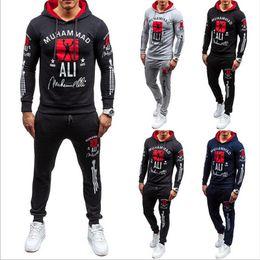 Wholesale Mens Hoodie Tops - 2PCS Set Mens Sportswear Tops Fitness Tracksuit Jogging Pullover Hoodie Hooded Tops+Sweatpants Gym Sports Suit 2Pcs Running Set