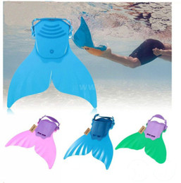 Wholesale Fins For Diving - Adjustable kids child swimming diving mermaid monofin training flippers swim fin christmas gifts for kids free shipping