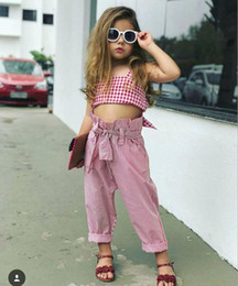 Wholesale tank tops long set - Girls INS suits Children fashion summer Bow Tanks strapless Tops + Long Pants Striped 2 pieces set suits Baby kids clothing Sets A8654