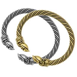 2019 ouro viking Antigo Viking Bangle Cuff Pulseiras Para Mulheres Cor Ouro e Prata Corvo Mammen Raven Carter Pulseira Masculino Pagan Jóias ouro viking barato