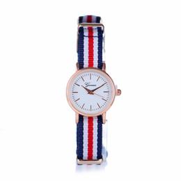 Wholesale Korean Ladies Glasses - British fashion fashion watch Korean version canvas stripe lady small dial watch watch Euramerican retro style