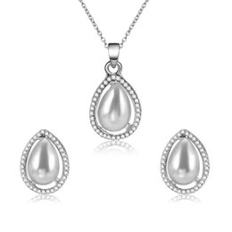 rhinestone bridesmaids jewelry sets 2018 - 2018 New Arrival Bridesmaid Bride Accessories Set Simple Crystal Rhinestone Water Drop Earrings Necklace Bridal Jewelry Sets
