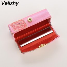 Wholesale Lipstick Boxes Mirror - Velishy 1PC Hot selling Mini Embroidered Flower Design Lipstick Case Box with Mirror Hasp Cosmetic Bags Coin Lipstick Holder