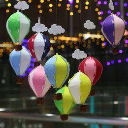 ornamento del cortile Sconti Fai da te Kindergarten Ornament Air Balloon Arcobaleno Stripe Griglia Manica a vento Hot Balloons Wind Spinner Garden Yard Outdoor Decor 4 2yf jj