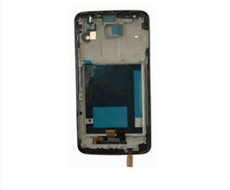 Wholesale lg g2 frame - 10pcs For LG G2 D802 LCD Display Touch screen + Digitizer Assembly with frame Black and white Free Shipping