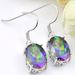 mystic topaz dangle earrings Promo Codes - LuckyShine Classic Dazzling Fire Oval Rainbow Mystic Topaz Gems Silver Hot Fashion Dangle Earrings For Women's