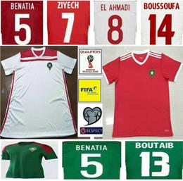 Camisas de futebol vermelhas em branco on-line-2018 Copa do mundo de futebol de Marrocos Jersey ZIYECH BOUTAIB BOUSSOUFA EL AHMADI BENATIA Em Branco Personalizar Casa Estrada Camisa de Futebol Verde Branco Vermelho