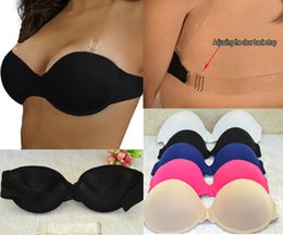 Wholesale 36 B Bras - Sexy Wedding Lingerie Thick Padded Push Up Bras Invisible Transparnt Strapless Adjustable Clear Back Bras 32 34 36 38 40 A B C D