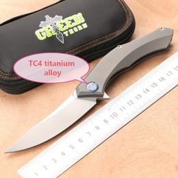 Espinho verde poluchetkiy liga de titânio turnover faca, D2 lâmina, camping faca de sobrevivência ao ar livre, faca de frutas prático, ferramenta EDC. de