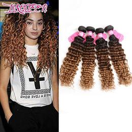 2019 pacotes curly rainha cabelo extensões Extensões de Cabelo Humano Brasileiro Virgem 3 Tons 1B / 4/27 Cabelo Ombre Onda Profunda 4 Pacotes Liqueen Ombre Profunda Encaracolado 1B 4 27 desconto pacotes curly rainha cabelo extensões