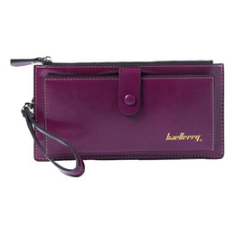 Wholesale Purple Wristlet - Wholesale- Baellerry Female Leather Hand Bag Fashion Wallets Women Coin Purses Wristlet Bags With Strap, Purple